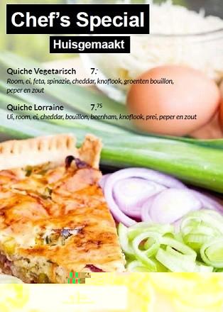 NIEUW: Huisgemaakte Quiche Vegetarisch of Quiche Lorraine.