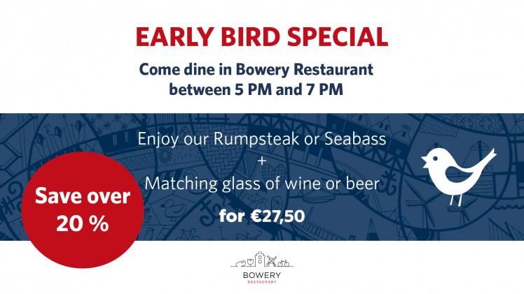 Early Bird Menu at Bowery Restaurant!
