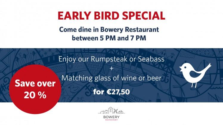 Early Bird Menu at Bowery Restaurant!
